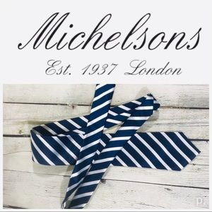 Michelsons of London tie shine blue white striped